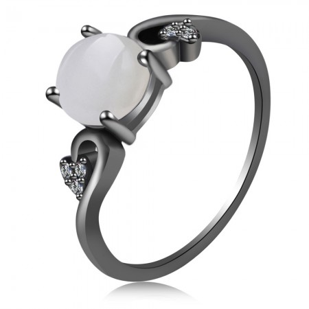 Hot Sale Fashion Style Black Gold Inlaid Opal Engagement Ring