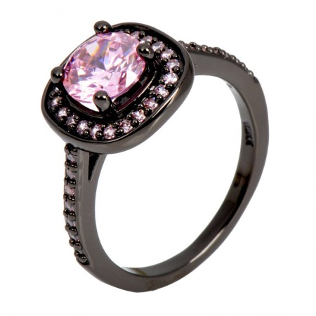 Charming New Simple Black Gold Inlaid Cubic Zirconia Engagement Ring