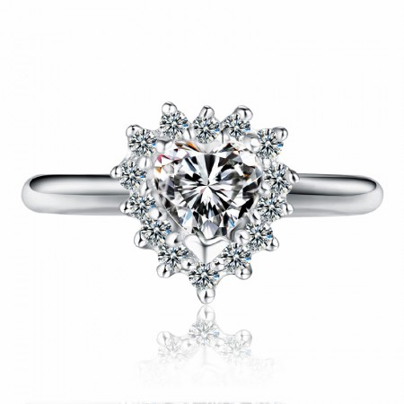 Dazzling Bright 925 Sterling Silver Inlaid Cubic Zirconia Engagement Ring
