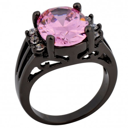 Hot Sale High-End Europe Black Gold Inlaid Cubic Zirconia Engagement Ring
