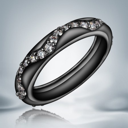 Hot Sale High Quality Black Gold Inlaid Cubic Zirconia Engagement Ring