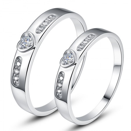 925 Sterling Silver Heart-Shaped Inlaid Cubic Zirconia Couple Rings