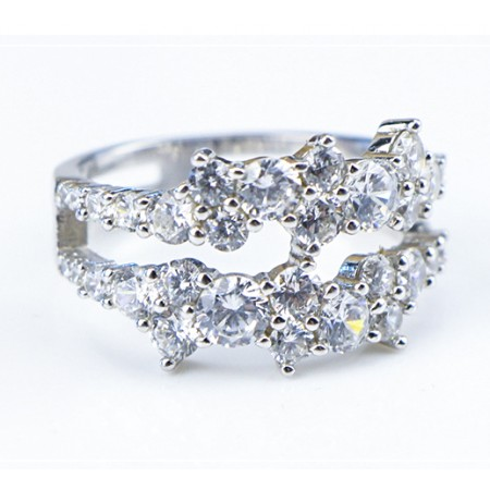 Double Row Austria Diamond s925 Sterling Silver Lady's Ring