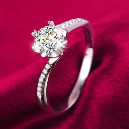 925 Sterling Silver Inlaid Six Claw 1ct Snowflake CZ Engagement Ring