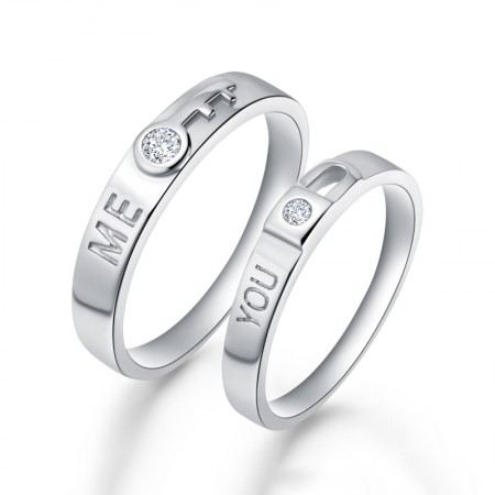 Creative Key And Lock 925 Sterling Silver Electric Rhodium Couple Rings