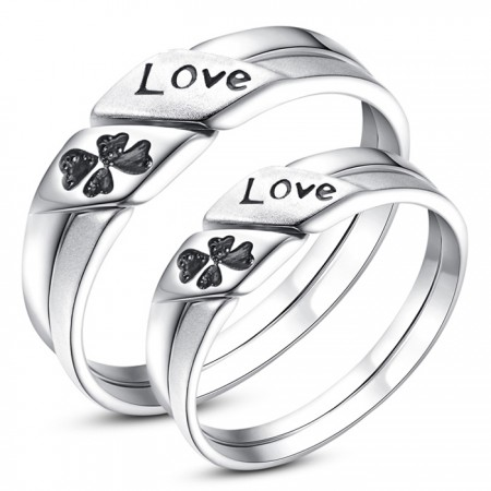 """Lucky Clover Lettering """"LOVE"""" 925 Silver Couple Rings"""