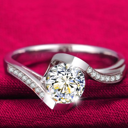 High-End Boutique 925 Sterling Silver Inlaid CZ Engagement Ring