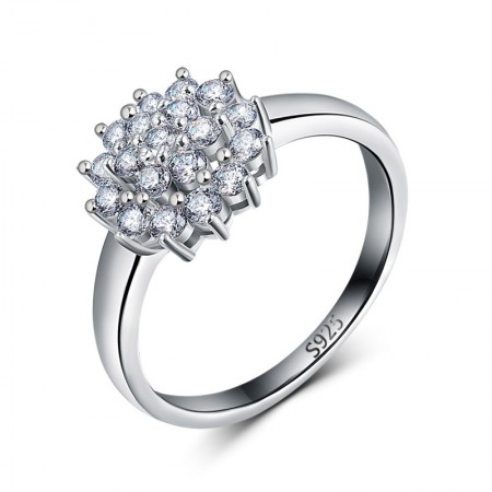 Personality Simple 925 Sterling Silver Inlaid Shining Bright Cz Engagement Ring