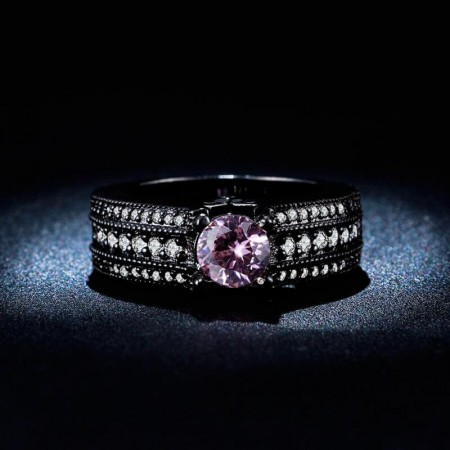 Europe Hot Selling High-Grade Copper-Plated Black Gold Engagement Ring