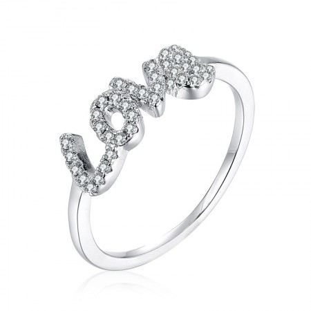 """925 Sterling Silver Slim Cute """"LOVE"""" Engagement Ring"""