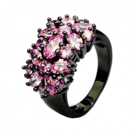 Europe New Hot Sale Black Gold Inlaid Pink Cubic Zirconia Engagement Ring