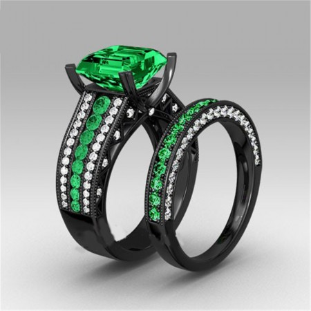 Europe Fine Jewelry Black Gold Inlaid Green Cubic Zirconia Engagement Ring Set