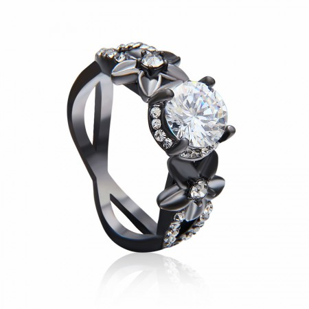 Europe Hot Sale High-End Black Gold Inlaid Cubic Zirconia Engagement Ring