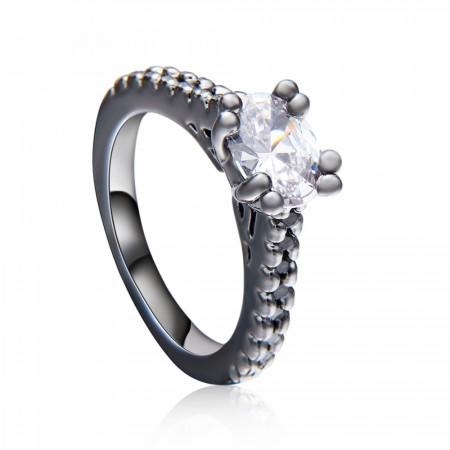 Europe High-End Handmade Black Gold Engagement Ring