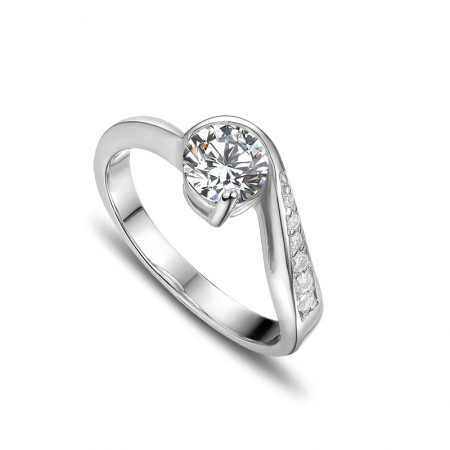Fine Produced 925 Sterling Silver Inlaid Cubic Zirconia Engagement Ring