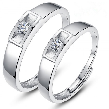 925 Silver Korean Creative Opening Lettering Couple Rings