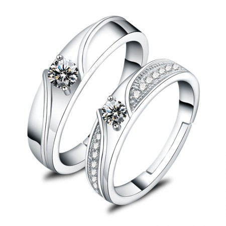 Fashion 925 Sterling Silver Inlaid Cubic Zirconia Exquisite Couple Rings