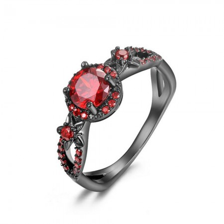Europe Best Sale Black Gold Inlaid Red Cubic Zirconia Engagement Ring