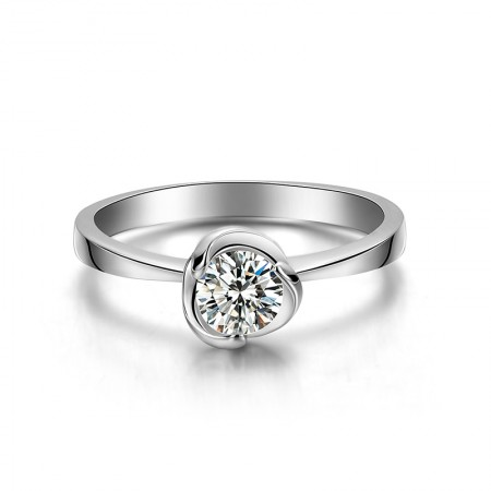 Unique Shape 925 Sterling Silver Inlaid Cubic Zirconia Engagement Ring