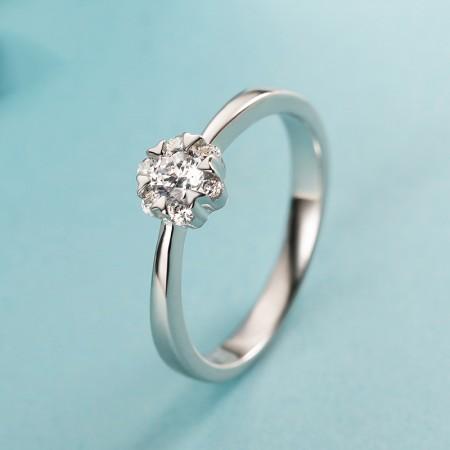 Slim Cute 925 Sterling Silver Snowflake Shape Cubic Zirconia Engagement Ring