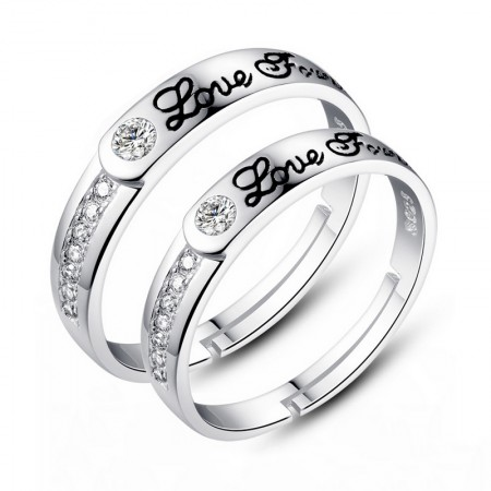 """Love Forever"" Opening Lettering S925 Silver Couple Rings"