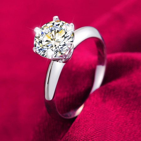 925 Silver Smooth Ring Surface Inlaid 2ct Six Claw CZ Engagement Ring
