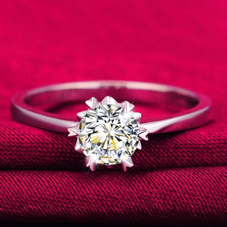 Romance Snowflake Shape 925 Sterling Silver High-End Engagement Ring