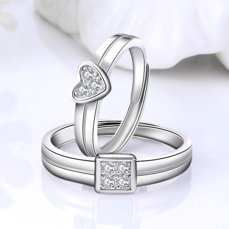Simple Love 925 Sterling Silver Plated 18k White Gold Couple Ring Couple Rings