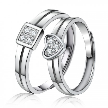 Simple Love 925 Sterling Silver Plated 18K White Gold Couple Ring