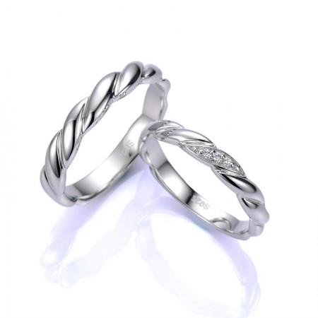 Original Design Twist Ring Surface 925 Silver Couple Ring
