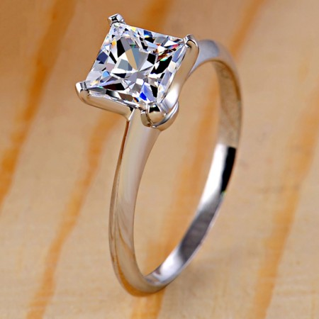 High-End Simple Smooth Ring Surface 925 Silver Engagement Ring