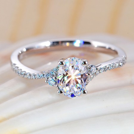 High-End Bright 925 Sterling Silver Inlaid Oval CZ Couple Ring