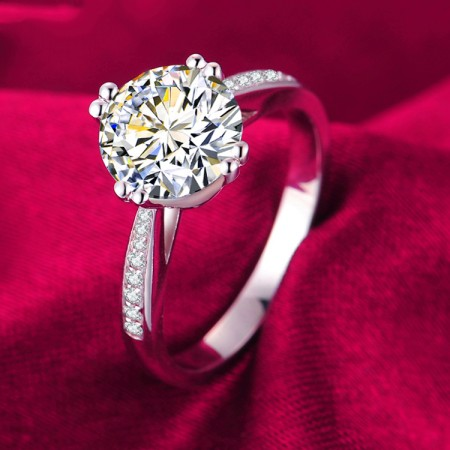 925 Sterling Silver Inlaid 2ct High-End Cubic Zirconia Engagement Ring