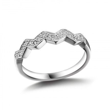 Original Personality Wavy S925 Sterling Silver Engagement Ring