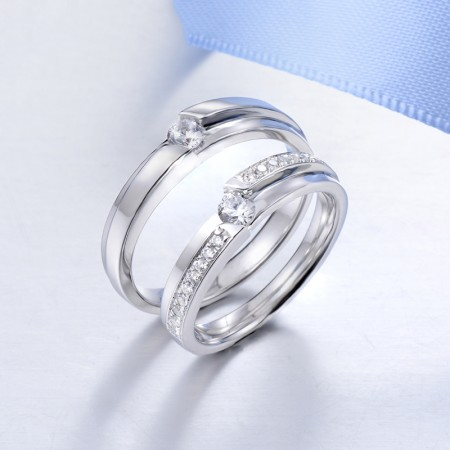 Elegant And Restrained S925 Silver Inlaid Quality Cubic Zirconia Couple Ring