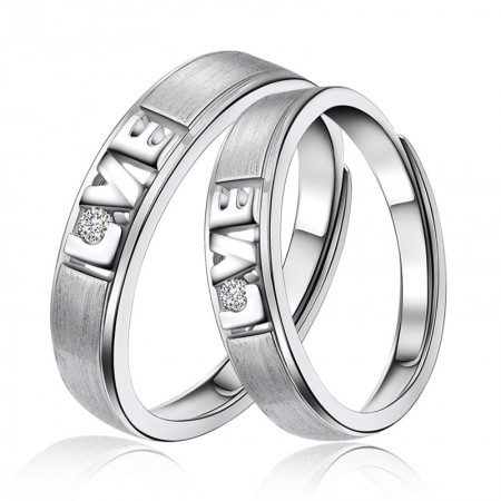 Love In Heart 925 Sterling Silver Plated White Gold Couple Ring
