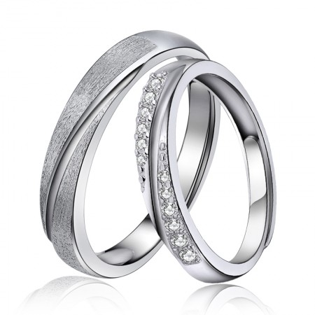 Creative Opening 925 Sterling Silver Delicate Process Couple Rings