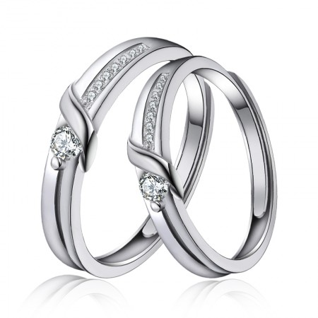 Unique Beautiful 925 Sterling Silver Plated White Gold Couple Rings