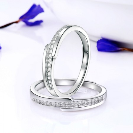 Slim Delicate 925 Sterling Silver Plated White Gold Fashion Couple Rings