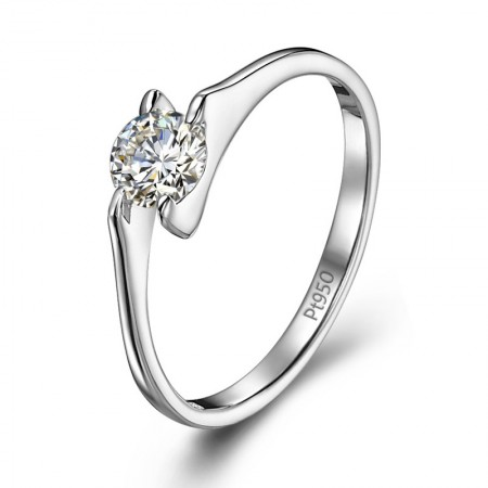 Upscale Luxury 0.3ct Cubic Zirconia And Sterling Silver With Platinum Engagement Ring