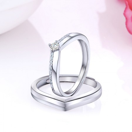 Brave Love 925 Sterling Silver Plated White Gold Creative Couple Rings