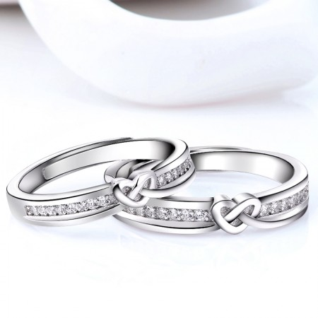 Intertwined Hearts 925 Sterling Silver Plated White Gold Couple Rings