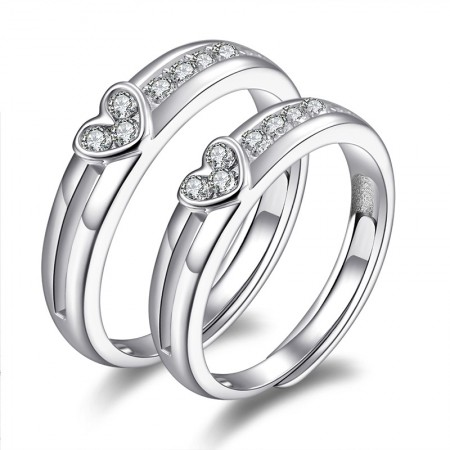Fine Polished Heart-Shaped 925 Sterling Silver Inlaid Cubic Zirconia Couple Rings