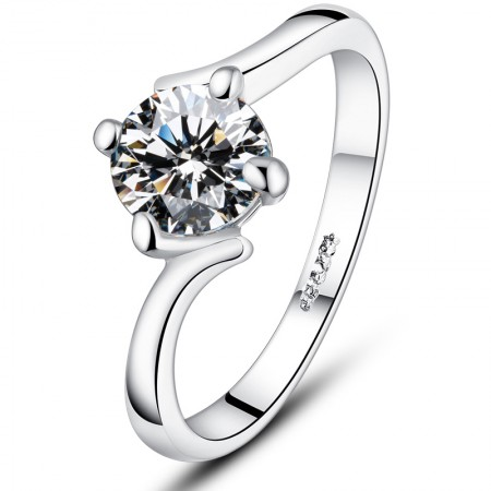 925 Sterling Silver Plated White Gold Inlaid 1ct Four Prong Cz Engagement Ring