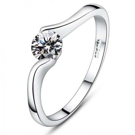 Streamlined Design Style 925 Sterling Silver Simple Engagement Ring