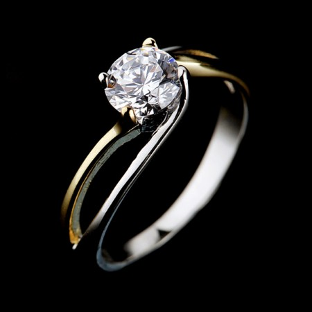 Cute Sweet Hollow 925 Sterling Silver Plated Gold Engagement Ring