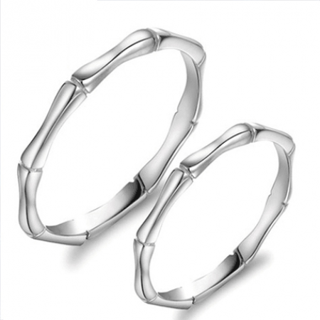 Creative Bamboo Shape 925 Sterling Silver Couple Rings