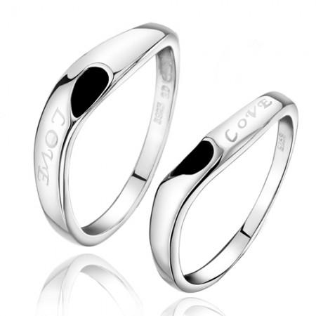 "Korean Version Of ""LOVE"" Soulmate 925 Silver Couple Rings"