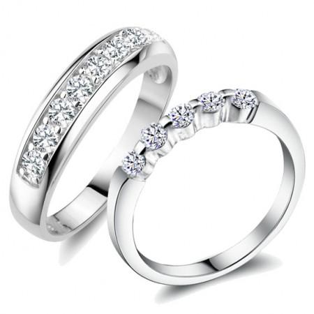 Korean Popular Simple 925 Silver Inlay Shining Cubic Zirconia Couple Rings