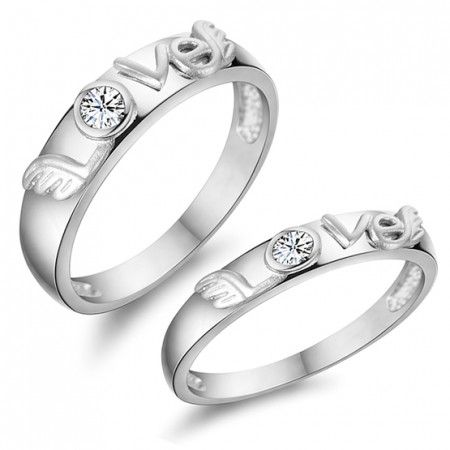 """""""LOVE"""" 925 Silver Inlay High-Grade Cubic Zirconia Angel Wings Couple Rings"""